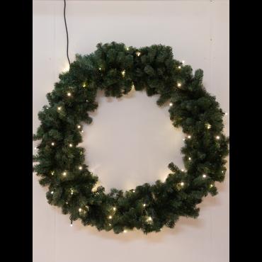 Kunst kerstkrans 140cm 100L met ledlampen